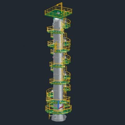 3D modeling of a Sour Gas Adsorber with ladders and platforms