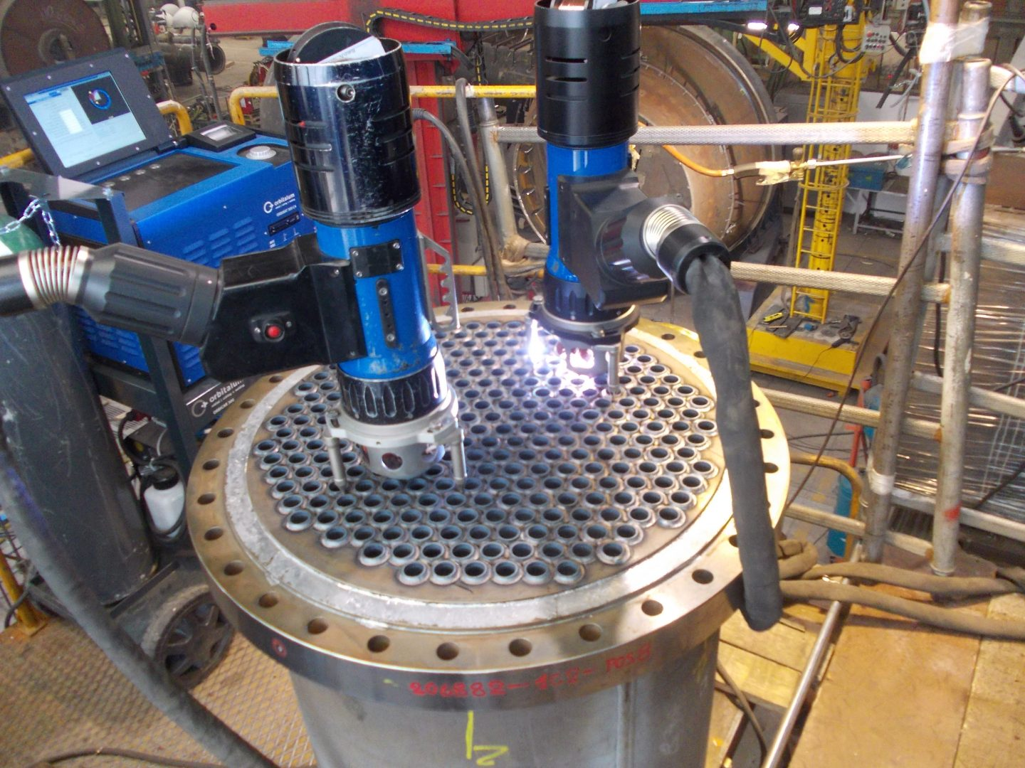 Vertical tube to tubesheet weld by automatic orbital GTAW